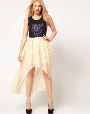 Image 1 ofLove Sequin Chiffon Dip Hem Dress