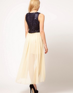 Image 2 ofLove Sequin Chiffon Dip Hem Dress