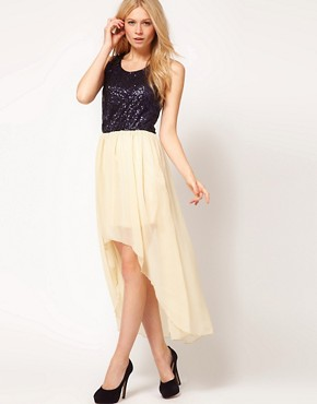 Image 4 ofLove Sequin Chiffon Dip Hem Dress