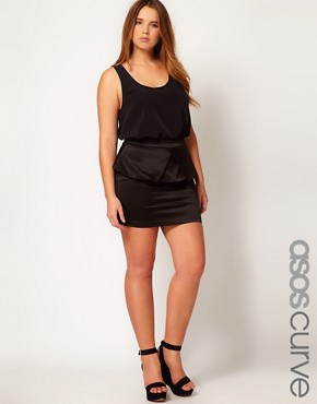 Image 1 ofASOS CURVE Peplum Skirt With Pleat