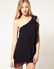French Connection Embellished Shoulder Silk Dress