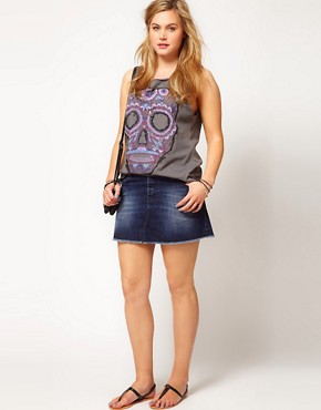 Image 4 ofASOS CURVE T-Shirt with Paintily Skull
