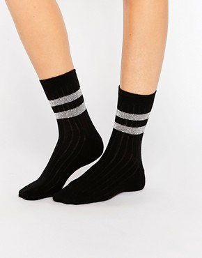ASOS Glitter 2 Stripe Ankle Socks