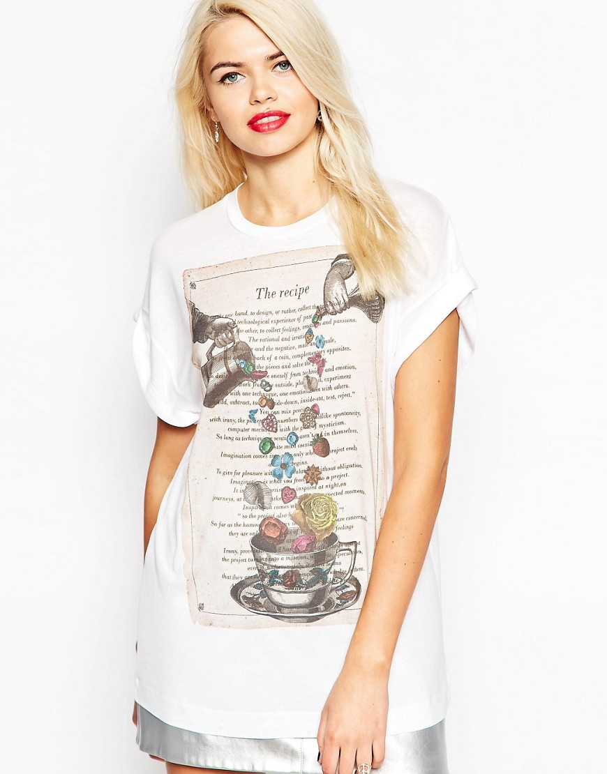 Love Moschino Floral Tea Party T-Shirt - White