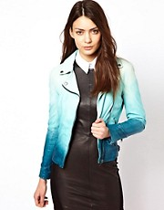 Muubaa Dip Dyed Leather Biker Jacket