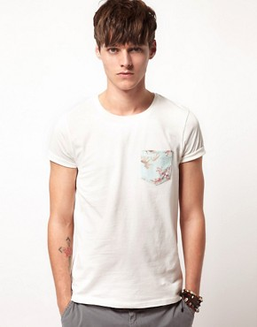 Image 1 ofASOS T-Shirt With Leaf Print Pocket