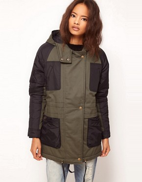 Image 1 ofASOS Nylon Blocked Parka