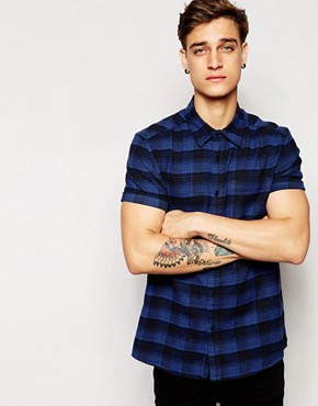 ASOS Shirt In Short Sleeve With Hombre Check
