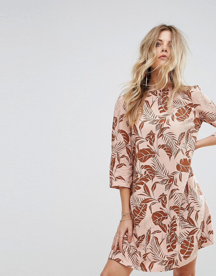 Y.A.S Long Sleeved Shift Dress in Palm Print