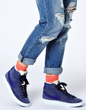 Image 3 ofNike Blazer Mid Blue High Top Trainers
