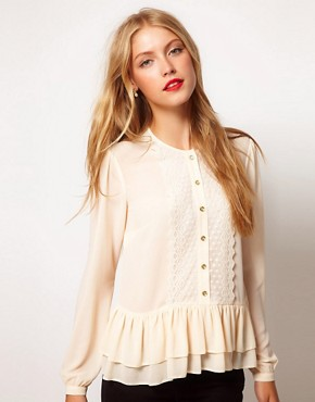 Image 1 ofASOS Blouse With Peplum And Crochet Lace Trim