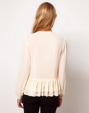 Image 2 ofASOS Blouse With Peplum And Crochet Lace Trim