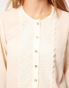 Image 3 ofASOS Blouse With Peplum And Crochet Lace Trim