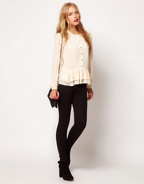 Image 4 ofASOS Blouse With Peplum And Crochet Lace Trim