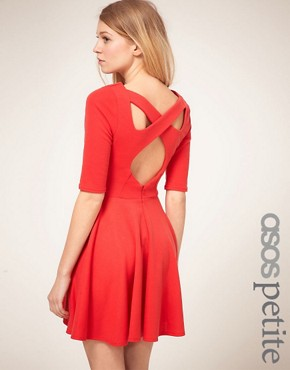 Image 1 ofASOS PETITE Exclusive Cross Back Skater Dress