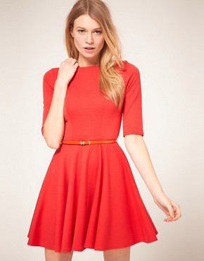 Image 2 ofASOS PETITE Exclusive Cross Back Skater Dress