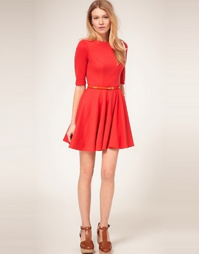 Image 4 ofASOS PETITE Exclusive Cross Back Skater Dress