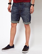 Suit Denim Shorts With Distressed Detail