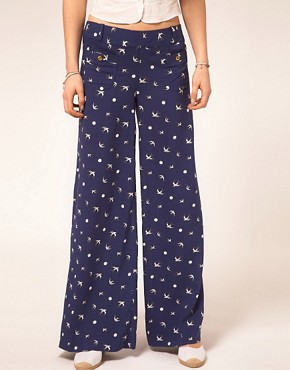Image 4 ofSugarhill Boutique Palazzo Pants In Swallow Print