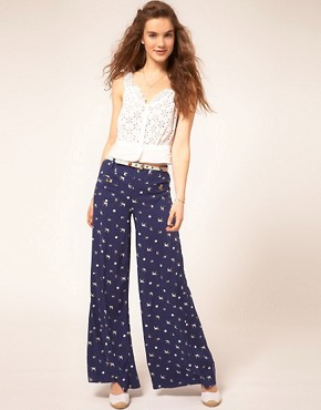 Image 1 ofSugarhill Boutique Palazzo Pants In Swallow Print