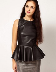 River Island Leather Look Peplum Vest