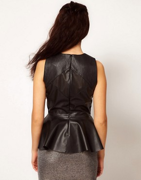 Image 2 ofRiver Island Leather Look Peplum Vest