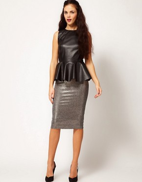 Image 4 ofRiver Island Leather Look Peplum Vest