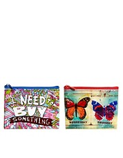 Pack de monederos con mariposas I Need To Buy Something de Blue Q