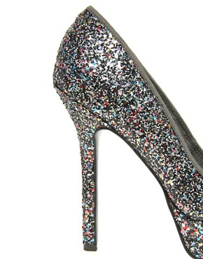 Image 2 ofASOS PUMP IT UP Glitter Platform Court Shoe