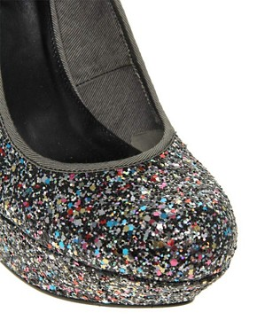 Image 3 ofASOS PUMP IT UP Glitter Platform Court Shoe