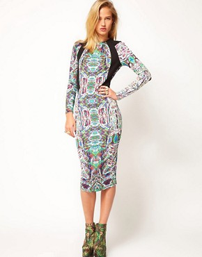 Image 2 ofASOS Revive Printed Dress with Cut Out Back