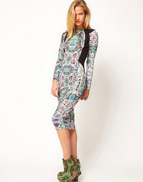 Image 4 ofASOS Revive Printed Dress with Cut Out Back