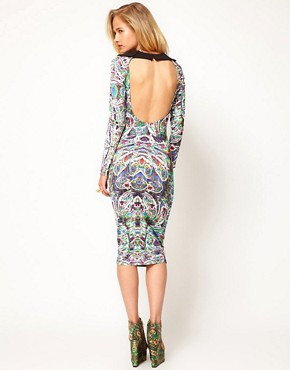 Image 1 ofASOS Revive Printed Dress with Cut Out Back