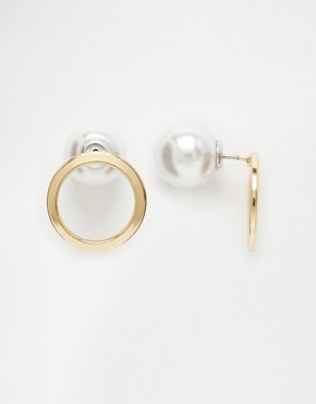 ASOS Open Circle Faux Pearl Double Earrings