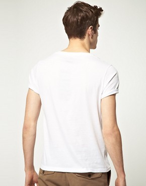 Image 2 ofASOS 2 Pack Crew Neck T-Shirt with Roll Up Sleeves White/White SAVE 2