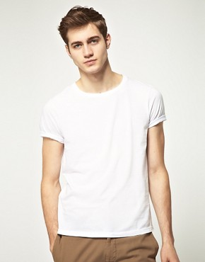 Image 1 ofASOS 2 Pack Crew Neck T-Shirt with Roll Up Sleeves White/White SAVE 2