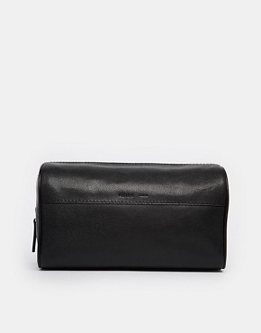 Reiss Leather Wash Bag