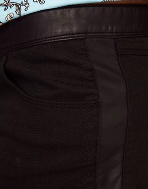 Image 3 ofRiver Island Leather Look Trim Shorts
