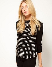ASOS Grid Jumper With Contrast Sleeves In Hand Crochet