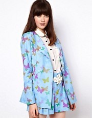 Nishe Scalloped Jacket in Butterfly Print