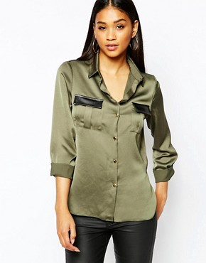 Michelle Keegan Loves Lipsy Wrap Military Shirt With PU Detail