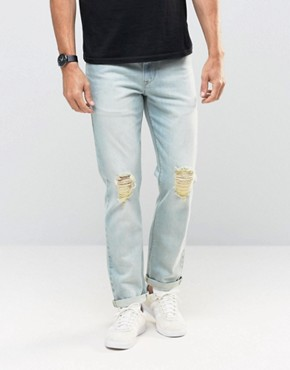 ASOS Stretch Slim Jeans With Knee Rips In Bleach Blue