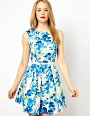 Karen Millen Skater Dress in All Over Iris Print