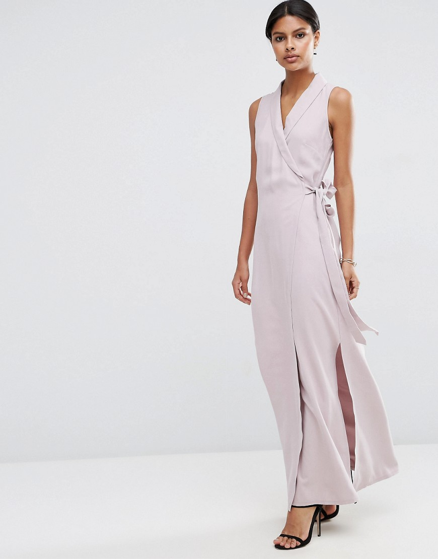 ASOS Wrap Maxi Dress in Premium Fabric - Purple