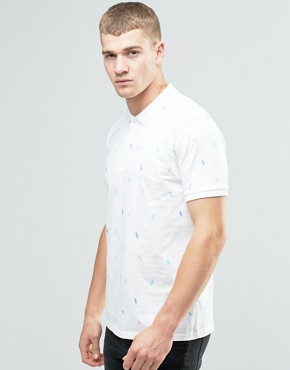 ASOS Pineapple Ditsy Print Polo In White