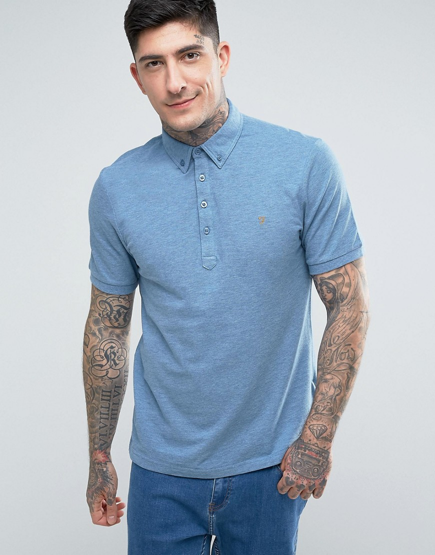 Farah Merriweather Short Sleeve Marl Polo Shirt in Blue - Seafront 472