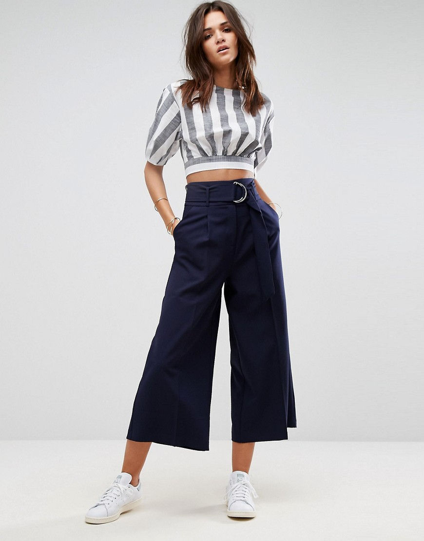 ASOS Clean Culotte with Oversized D Ring Detail Belt - Navy