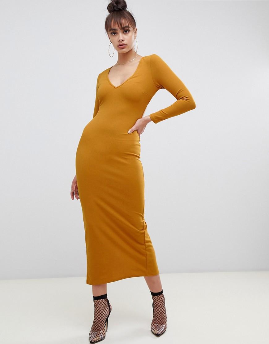ASOS DESIGN - Maxikleid aus Krepp und Neopren mit Rückenausschnitt - Gelb | Bekleidung > Kleider > Maxikleider | Gelb | ASOS DESIGN