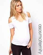 ASOS Maternity T Shirt with Cold Shoulder and V Neck