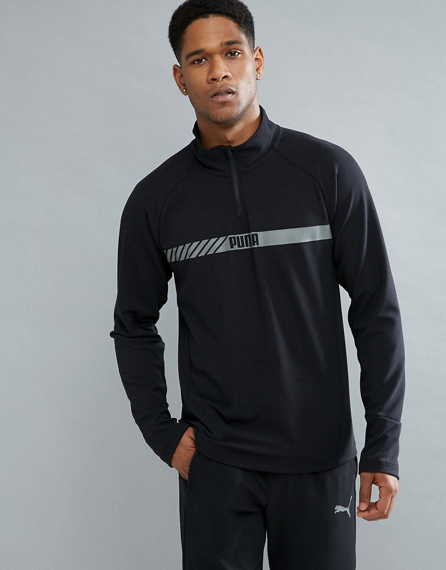 Puma Running Active Tec Stretch Zip Sweat In Black 59423801 - Black